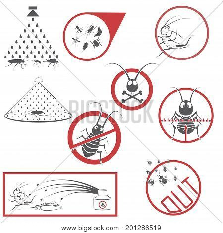 An illustration consisting of 9 images in the form of cockroaches and prohibitory signs