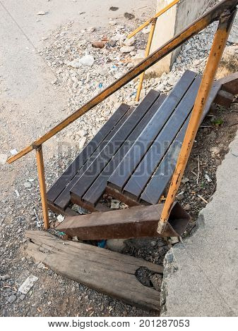 Metal temporary staircase for use at the urban train station in the construction time.