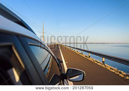 Car Crossing The Bridge Helio Serejo Over The Parana River