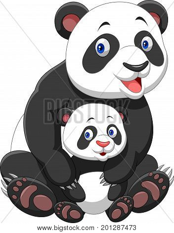 Vector illustration of Mother and baby panda