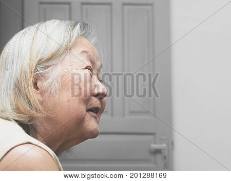 Old Woman Smiling Aligned To The Left