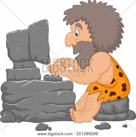 Vector illustration of Cartoon caveman using a stone computer