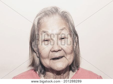 Portrait Of A Smiling Old Woman With White Hair