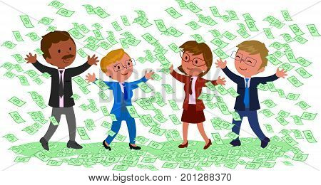 Happy successful businessmen with a lot of cash vector illustration