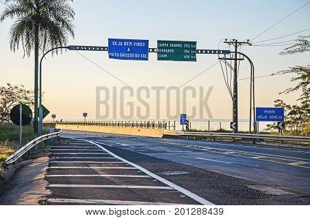 Welcome Board On The Entrance Of Mato Grosso Do Sul State On Helio Serejo Bridge
