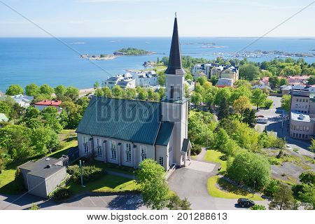 Evangelical Lutheran Church of Hanko on a sunny June day. Finland