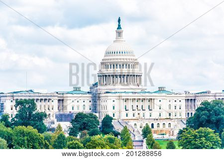Washington Dc, Usa - October 2, 2016: Aerial View Of United States Congress With Construction On Pen