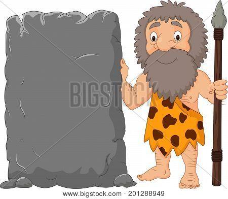 Vector illustration of Cartoon caveman holding stone sign