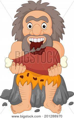 Vector illustration of Cartoon caveman eating meat
