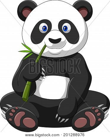 Vector illustration of Cartoon panda eating bamboo