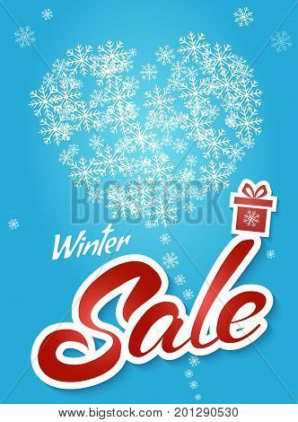 Sale banner on blue background with snowflakes. Lettering winter sale. Sale vector. Sale new year poster.