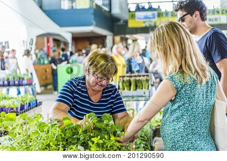 Montreal, Canada - May 28, 2017: Florist Store With Many Colorful Flowers And Woman Selling At Jean-