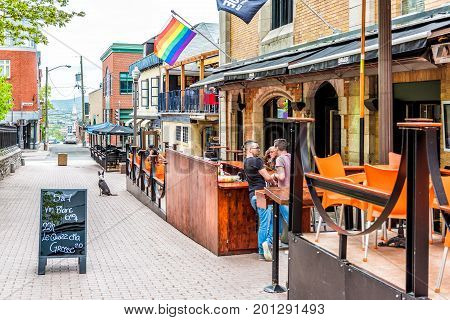Quebec City, Canada - May 29, 2017: Saint Jean Baptiste Area With Gay Friendly Restaurant On Augusti