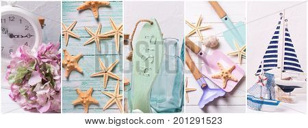 Collage from photos with ocean or coastal living decorations. Summer vacation. Decorative wooden boats toy for play with sand wooden fish star fishes bottles on light backgound. Site header.