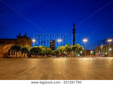 Christopher Columbus monument on the central promenade of Barcelona n the sunset.