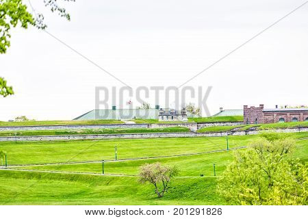 Green Plaines D'abraham In Morning During Summer With View Of Citadelle In Quebec City