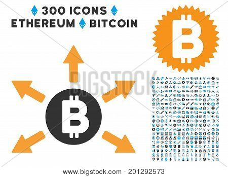 Bitcoin Emission icon with 300 blockchain, bitcoin, ethereum, smart contract graphic icons. Vector clip art style is flat iconic symbols.