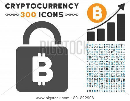 Bitcoin Lock icon with 300 blockchain, cryptocurrency, ethereum, smart contract graphic icons. Vector clip art style is flat iconic symbols.
