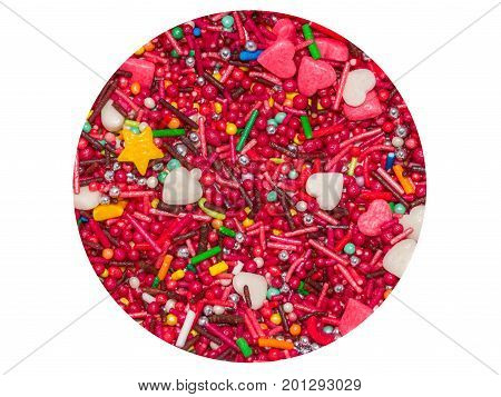 Colored sugar different shapes in isolated circle colored