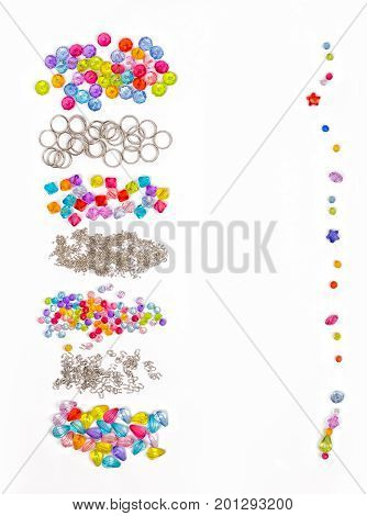 acrylic beads on a white background. Acrylic beads for design, Set for design of colored beads on a white background, rings, beads, for example