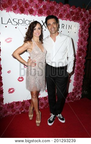 LOS ANGELES - AUG 21:  Karina Smirnoff, Gilles Marini at the Karina Collection with LA Splash Cosmetics Launch at the Sofitel Los Angeles on August 21, 2017 in Beverly Hills, CA