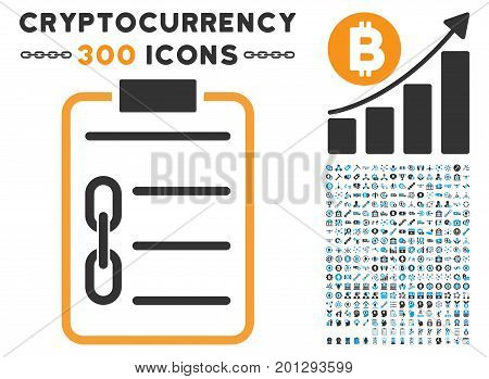 Blockchain Contract icon with 300 blockchain, bitcoin, ethereum, smart contract symbols. Vector pictograph collection style is flat iconic symbols.