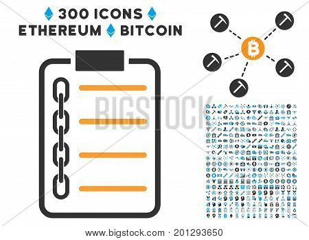 Blockchain Contract pictograph with 300 blockchain, cryptocurrency, ethereum, smart contract images. Vector illustration style is flat iconic symbols.