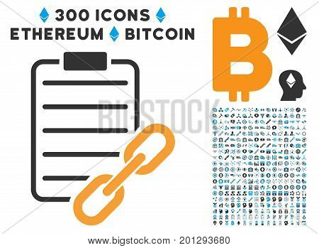 Blockchain Contract pictograph with 300 blockchain, cryptocurrency, ethereum, smart contract symbols. Vector clip art style is flat iconic symbols.