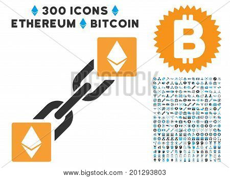 Ethereum Blockchain icon with 300 blockchain, cryptocurrency, ethereum, smart contract images. Vector icon set style is flat iconic symbols.