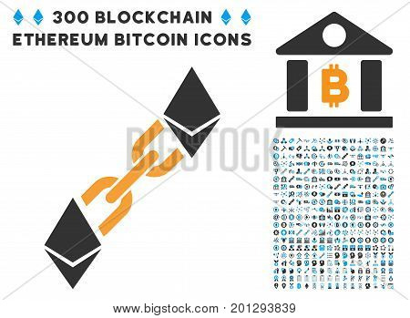 Ethereum Blockchain pictograph with 300 blockchain, bitcoin, ethereum, smart contract design elements. Vector icon set style is flat iconic symbols.