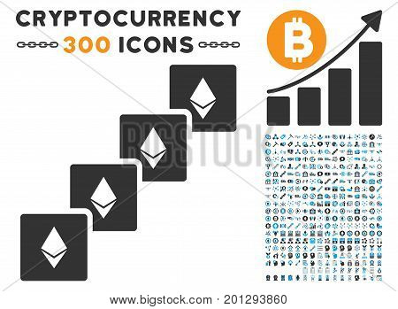 Ethereum Blockchain pictograph with 300 blockchain, cryptocurrency, ethereum, smart contract graphic icons. Vector clip art style is flat iconic symbols.