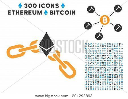 Ethereum Broken Chain pictograph with 300 blockchain, bitcoin, ethereum, smart contract graphic icons. Vector icon set style is flat iconic symbols.