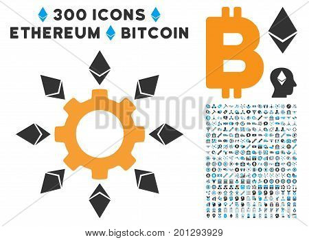 Ethereum Configuration Gear icon with 300 blockchain, bitcoin, ethereum, smart contract symbols. Vector icon set style is flat iconic symbols.