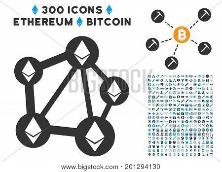 Ethereum Network icon with 300 blockchain, bitcoin, ethereum, smart contract graphic icons. Vector illustration style is flat iconic symbols.