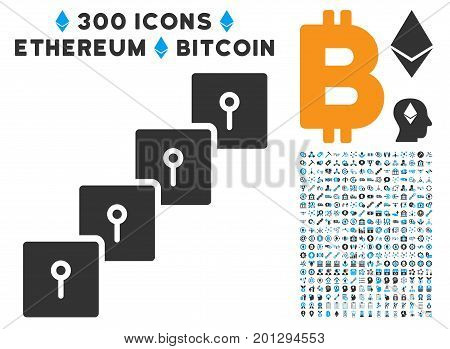 Locker Blockchain icon with 300 blockchain, cryptocurrency, ethereum, smart contract graphic icons. Vector pictograph collection style is flat iconic symbols.