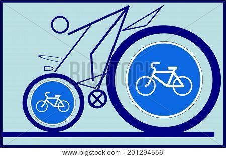 Cyclist and road sign. The symbolic picture depicts a cyclist and a corresponding road sign. This sign warns drivers to be more careful.