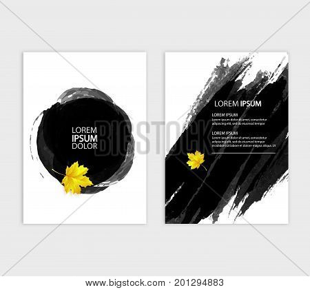 A4 brochure cover design. autumn style, stylized maple leaves, EPS 10 vector illustration