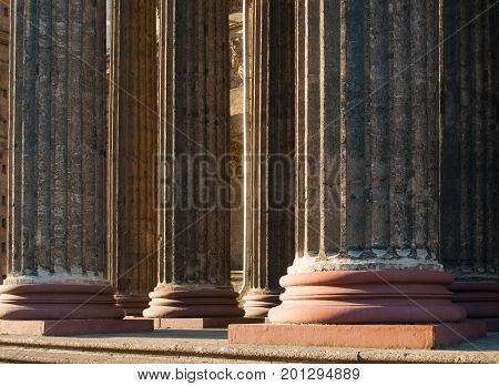 Architecture background with columns of Kazan Cathedral colonnade in St Petersburg Russia. Closeup of architecture details of St Petersburg Russia architecture landmark