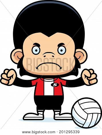 Cartoon Angry Volleyball Player Chimpanzee