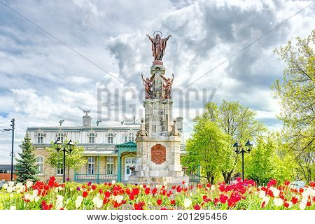 Saint-augustin-de-desmaures, Canada - May 29, 2017: Parish Of Sainte Augustin In Small Town On Chemi