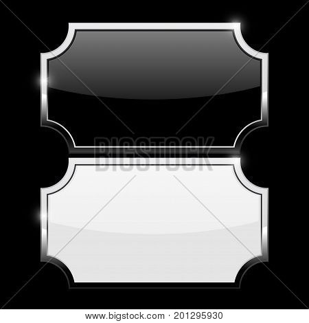 Decorative buttons. Black and white with chrome frame. Vector illustration on black background