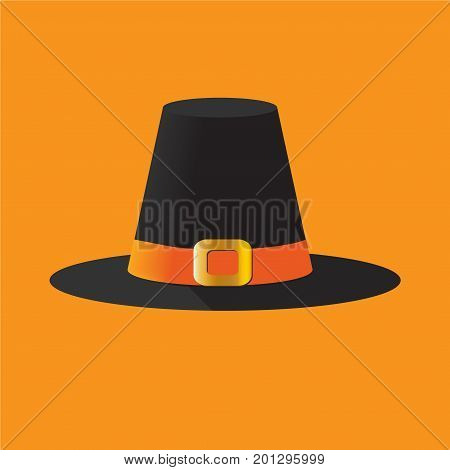 Vector thanksgiving day illustration: a pilgrim's hat isolated, cockel hat or traveller's hat with a wide brim hat. The scallop shell or emblem of St James the Great denoted the pilgrim status.