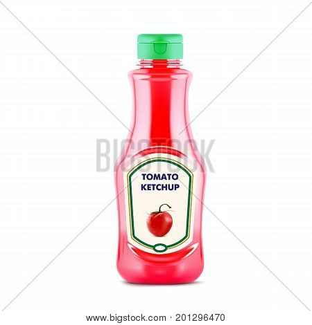 Ketchup bottle with fresh tomatoe on the lable isolated on white background, realistic vector illustration