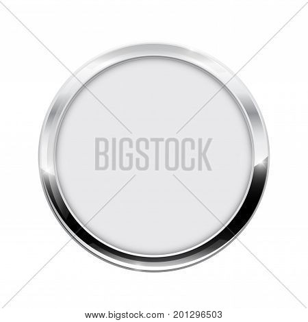 Round button. White web icon with chrome frame. Vector illustration isolated on white background