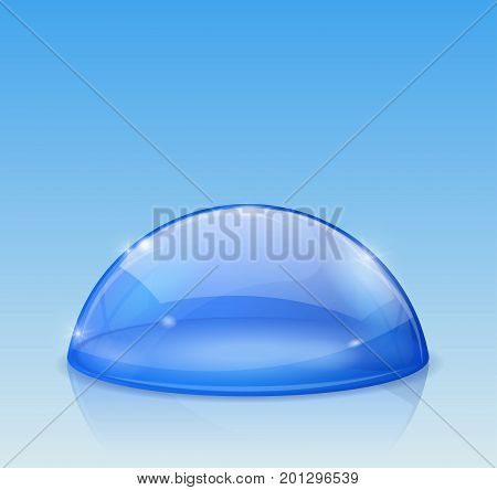 Blue dome, glass semi-sphere. Vector 3d illustration on blue background