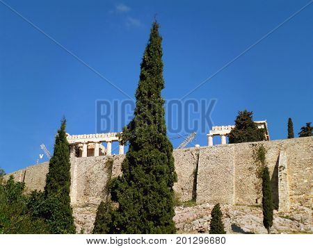 The Ancient Greek Temple from the Acropolis Foothill, Athens, Greece