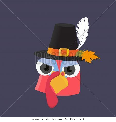 Vector Cartoon illustration for Thanksgiving day: bizarre and cute turkey bird mascot face with pilgrim hat, known as traveler's hat on. Thanksgiving dinner turkey character.