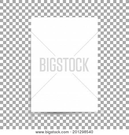 White sheet of paper format A4 with shadows on transparent background
