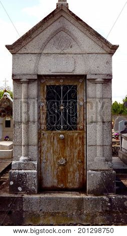 Tomb in a rural French cemetery in the heart of France