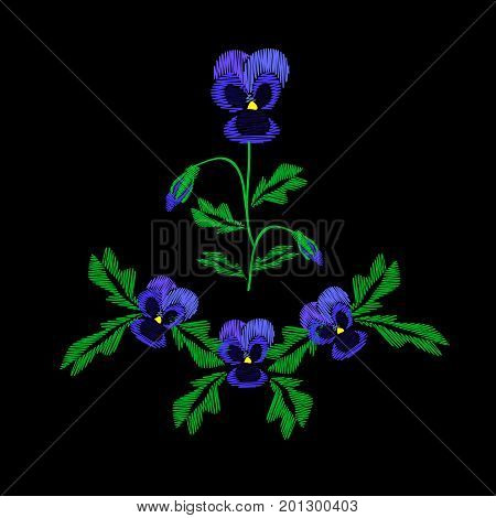 Embroidery of jeans. Smooth. Blue flowers Pansies with buds. Flower pattern. Traditional folk ornament. Vector illustration on a black background.